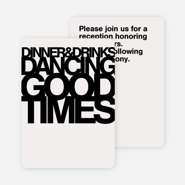 Fortune Favors The Bold Wedding Reception Cards Paper Culture
