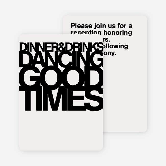 Fortune Favors the Bold Wedding Reception Cards - Black
