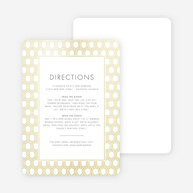 Hexagon Bliss Wedding Direction Cards - White