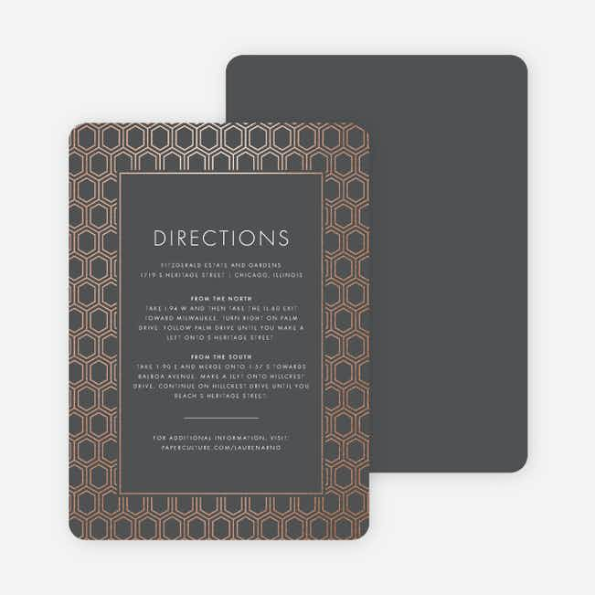 Hexagon Bliss Wedding Direction Cards - Gray