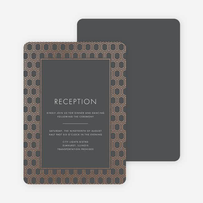 Hexagon Bliss Wedding Reception Cards - Gray