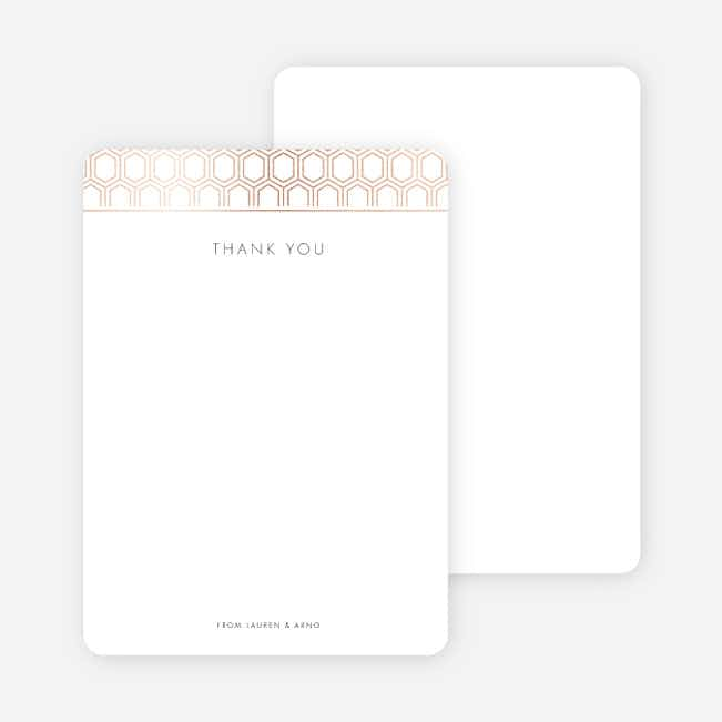 Hexagon Bliss Wedding Thank You Cards - Gray