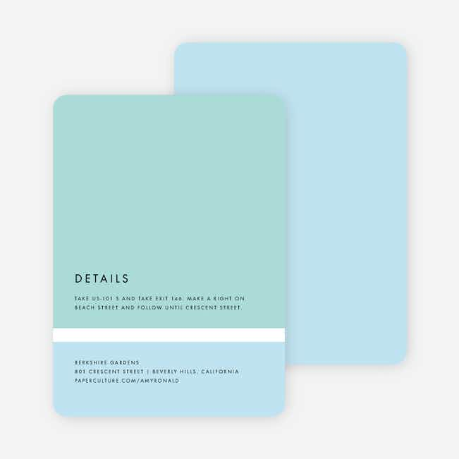 Stripe It Wedding Direction Cards - Blue