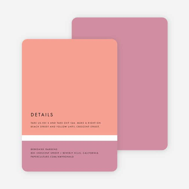Stripe It Wedding Direction Cards - Pink