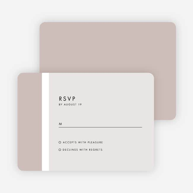 Stripe It Wedding Response Cards - Beige