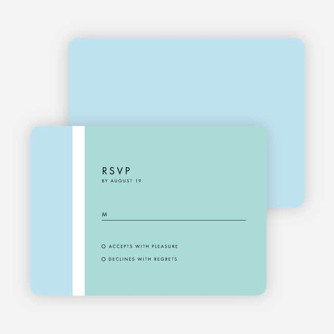 Stripe It Wedding Response Cards - Blue