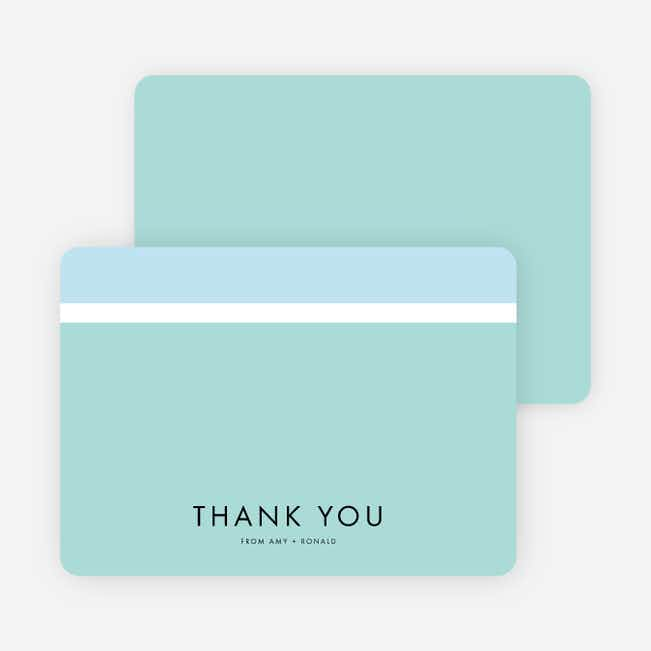 Stripe It Wedding Thank You Cards - Blue