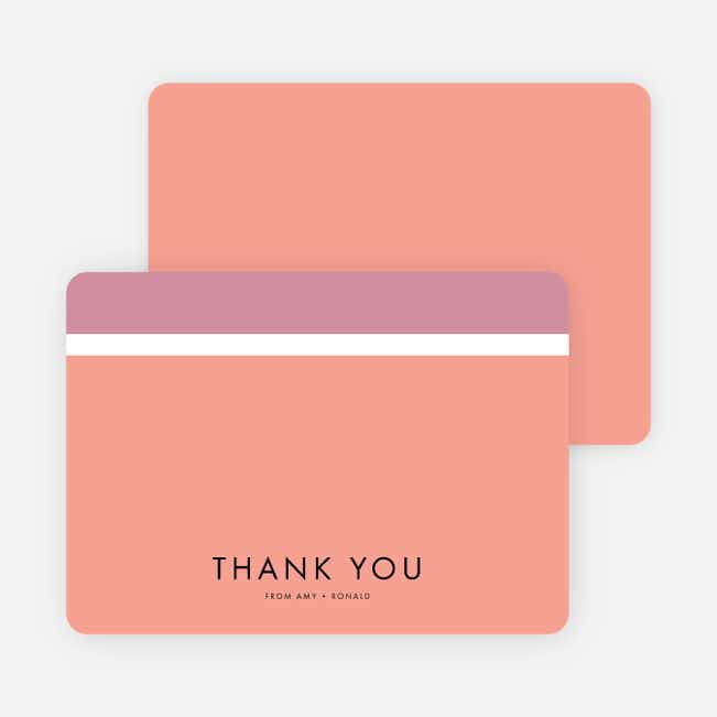 Stripe It Wedding Thank You Cards - Pink