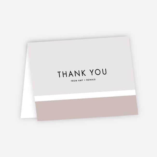 Stripe It Wedding Thank You Cards - Beige