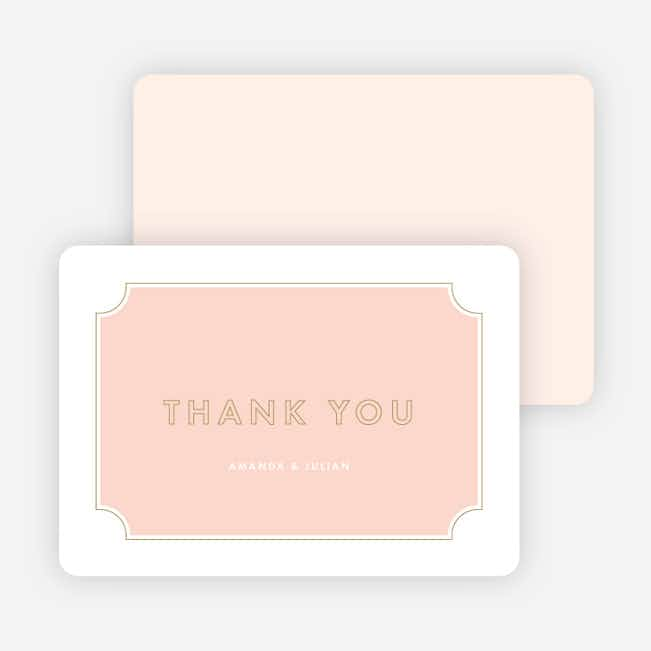 Tomorrow's Crest Wedding Thank You Cards - Pink