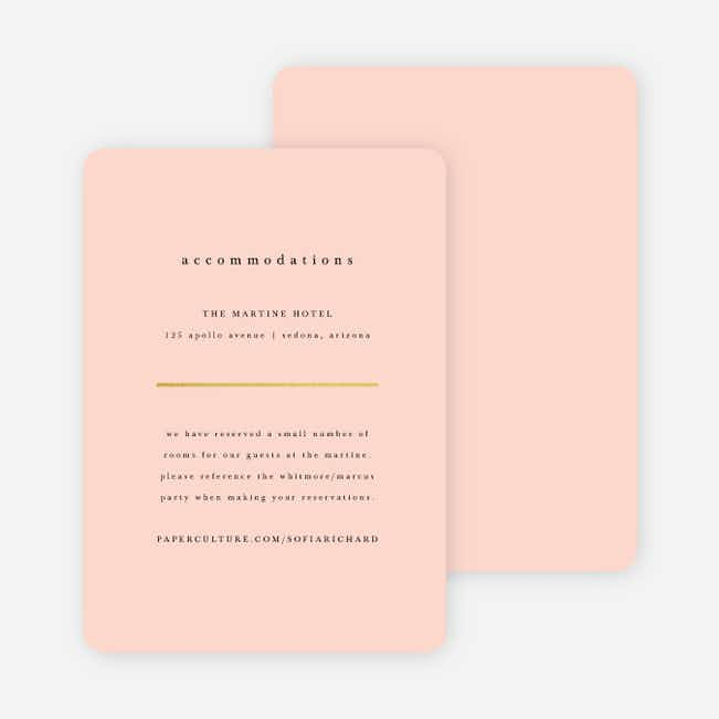 Less is More Wedding Direction Cards - Pink