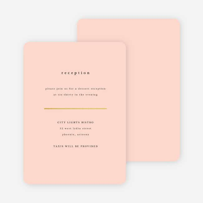Less is More Wedding Reception Cards - Pink