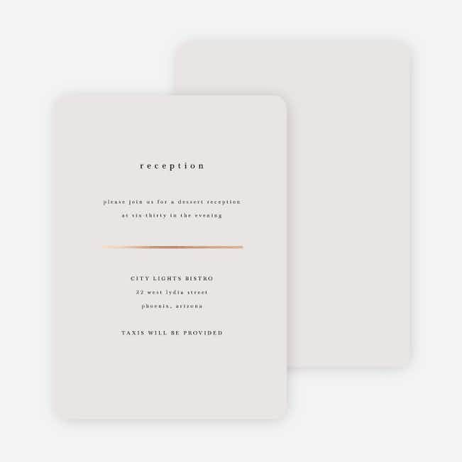 Less is More Wedding Reception Cards - Beige
