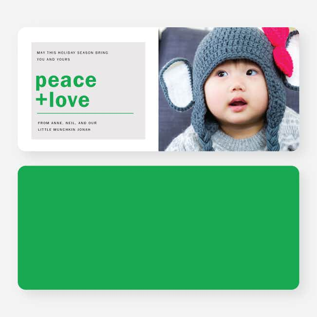 Peace & Love Holiday Cards - Green