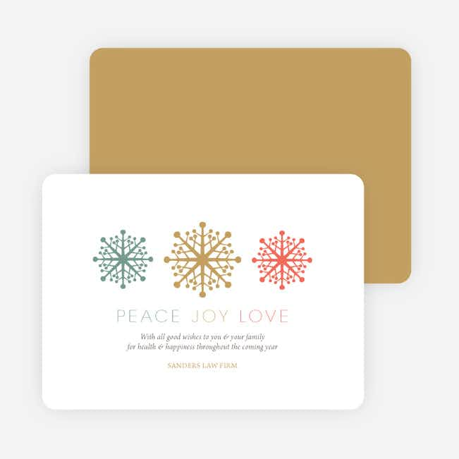 Custom Corporate Holiday Cards with Snowflake Theme - Beige