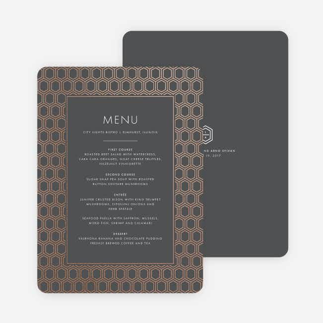 Hexagon Bliss Wedding Menus - Gray