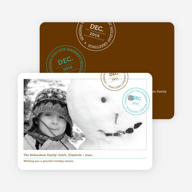 Holiday Stamp Photo Cards - Mocha Brown