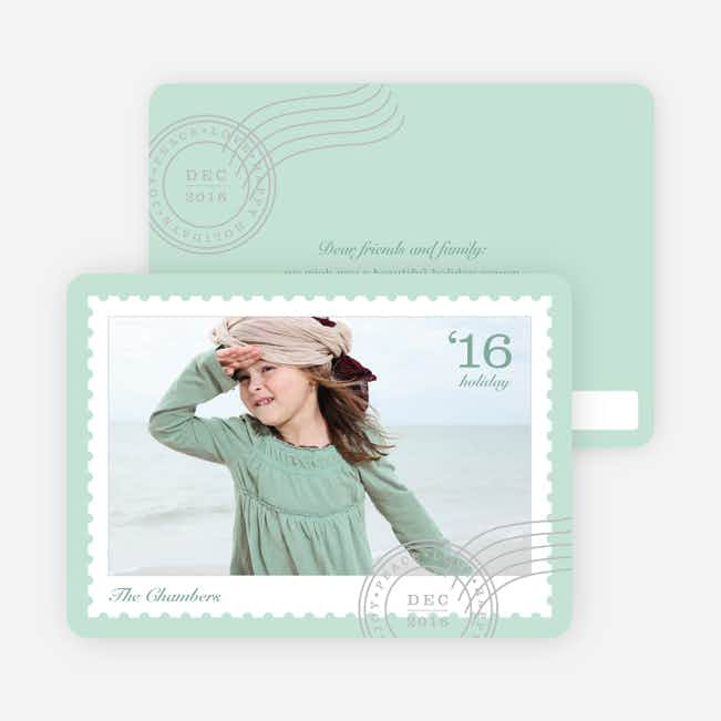Holiday Stamps Photo Cards - Green