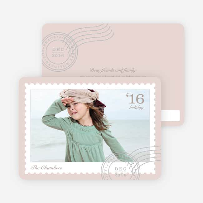 Holiday Stamps Photo Cards - Beige