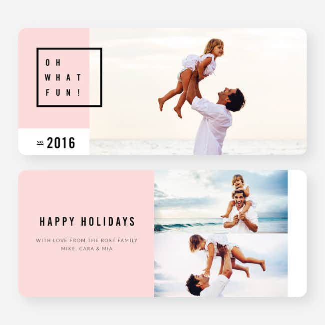 Modern Design Christmas Cards - Pink