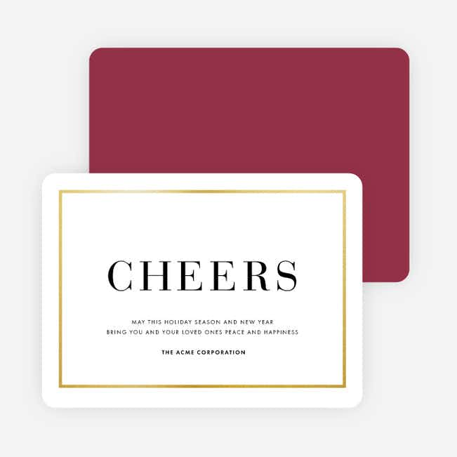 Simply Foil Corporate Holiday Cards - Red
