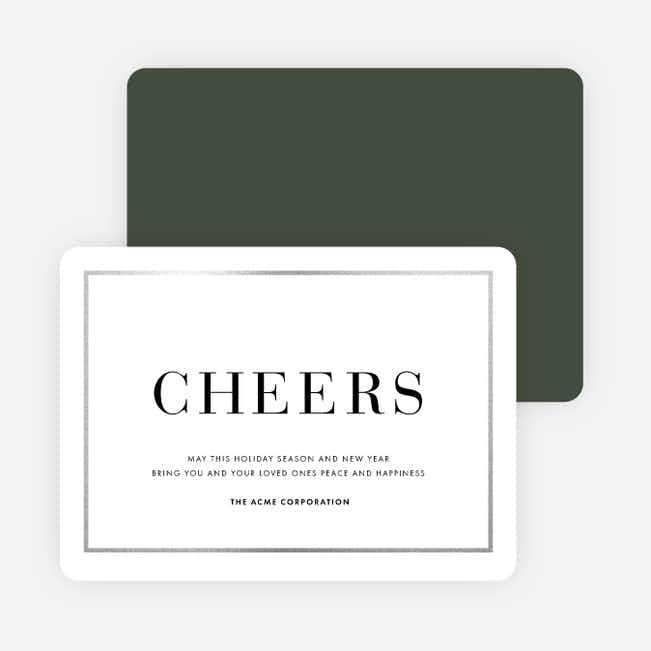 Simply Foil Corporate Holiday Cards - Green