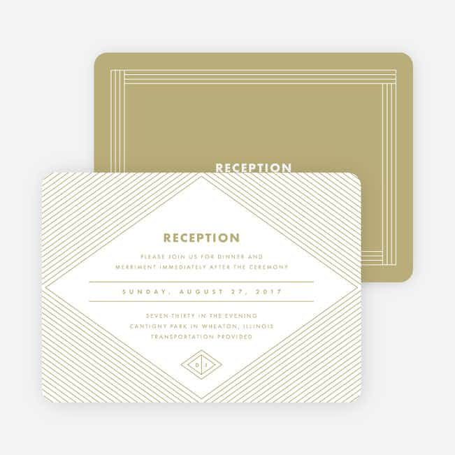 Diamond Chic Wedding Reception Cards - Beige
