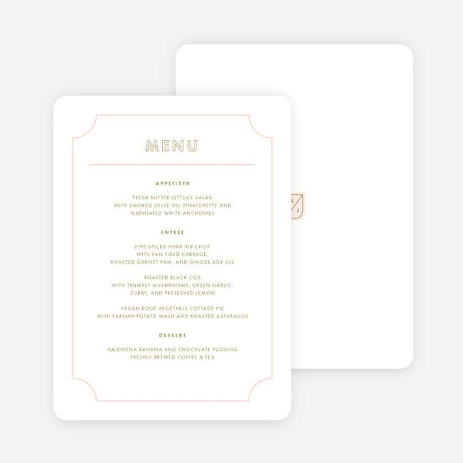 Family Crest Wedding Menus - Pink