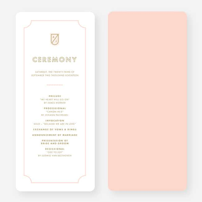 Family Crest Wedding Programs - Pink