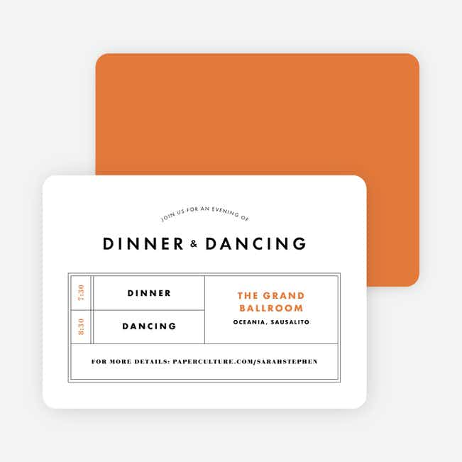 Modern and Classic Wedding Reception Cards - Orange