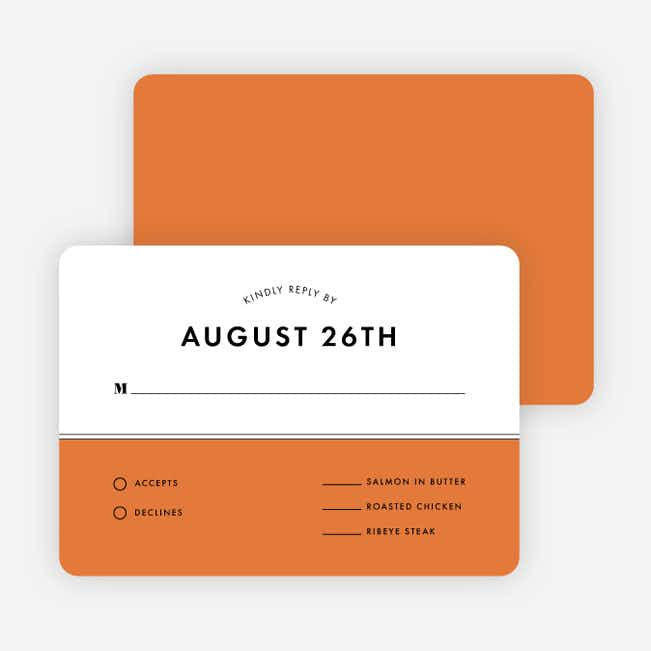 Modern and Classic Wedding Response Cards - Orange