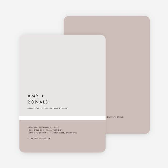 Stripe It Wedding Invitations - Beige