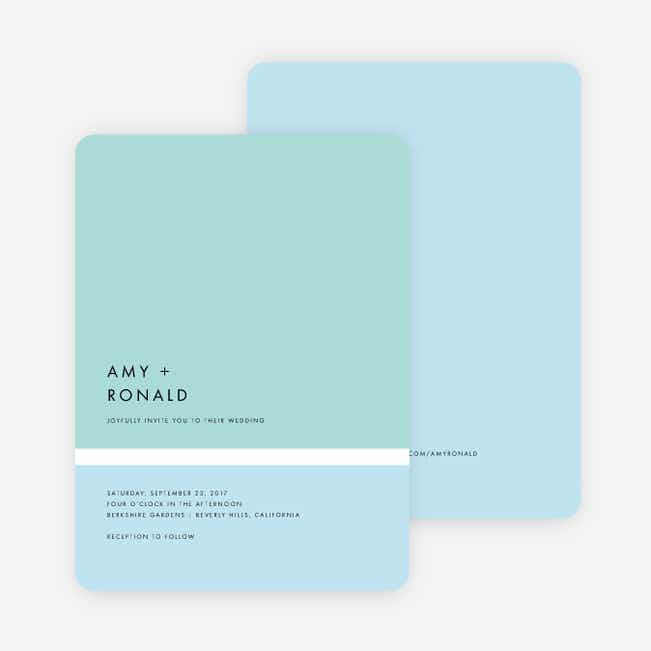 Stripe It Wedding Invitations - Blue