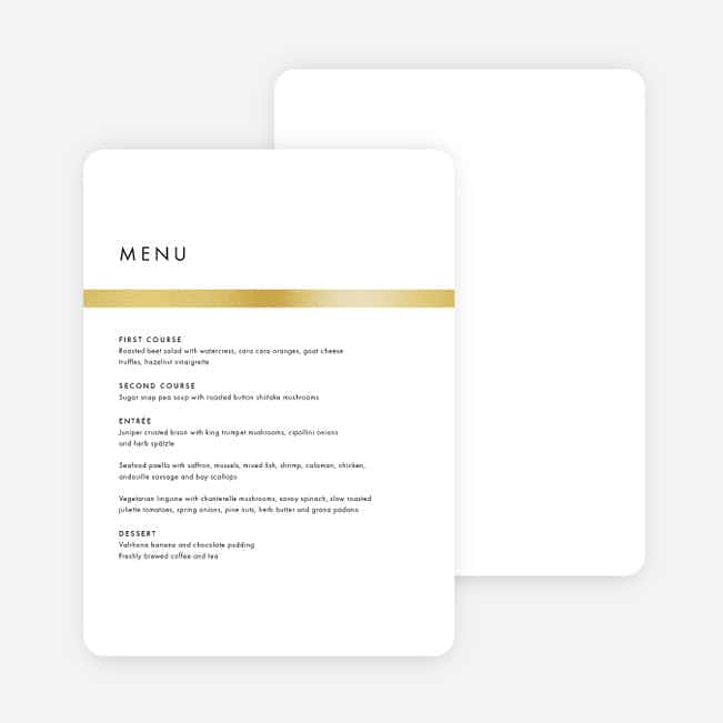 Stripe It Wedding Menus - White