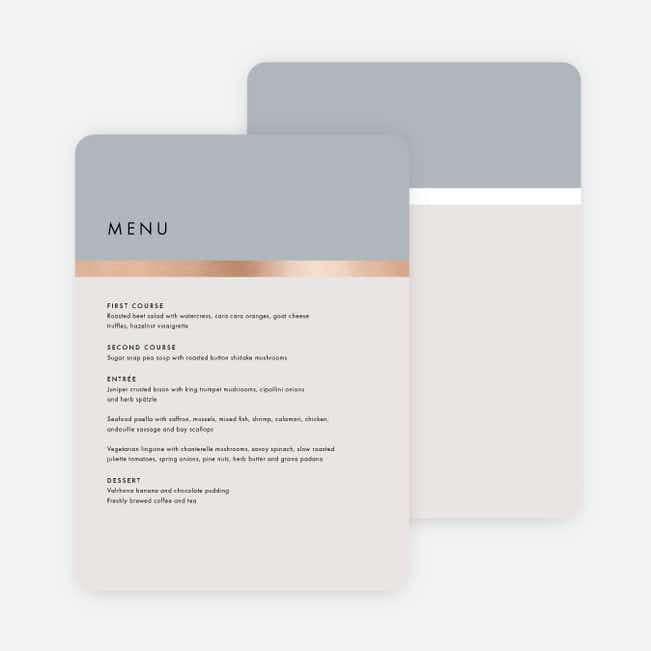 Stripe It Wedding Menus - Gray