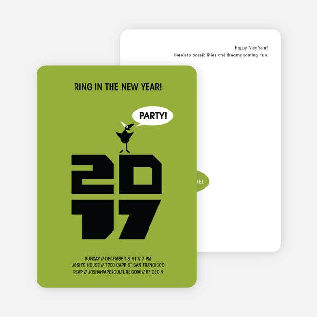Chic New Year's Eve Party Bird Invitations - Asparagus Green