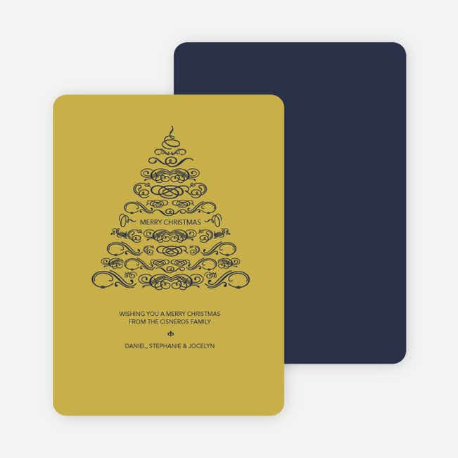 Christmas Tree Flourish Holiday Cards - Black