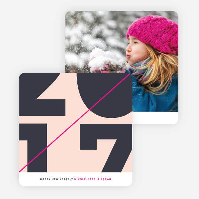 Diagonal Stripes New Year Cards - Pink
