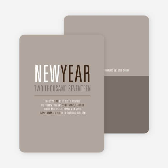 New Beginnings New Year's Invitations - Sand
