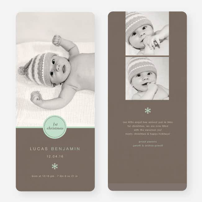 Circle Seal Holiday Birth Announcements - Green