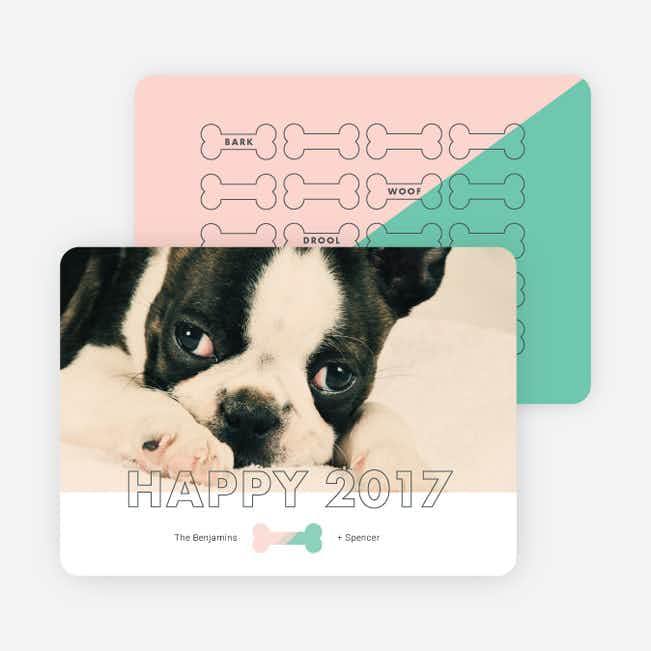 Good Dog New Year Cards - Pink