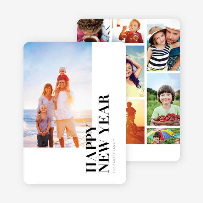 Photo Grid New Year Cards - Black