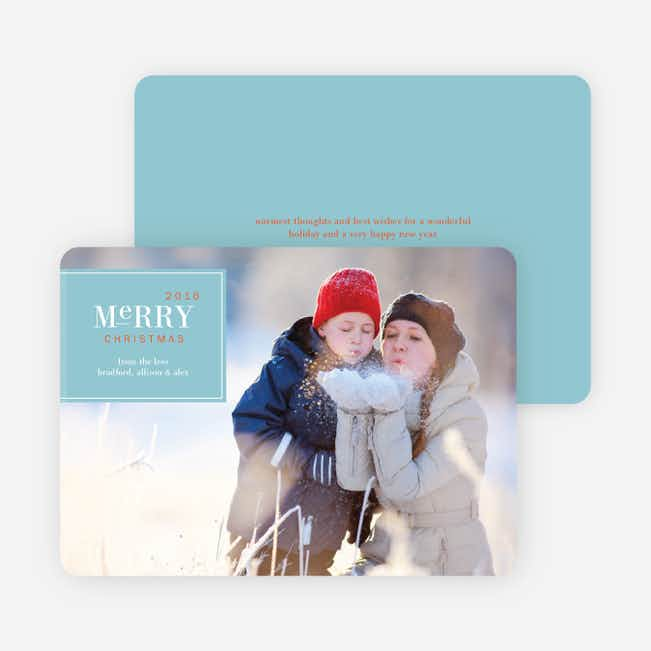 Merry Christmas Badge – Modern Holiday Photo Card - Celestial Blue