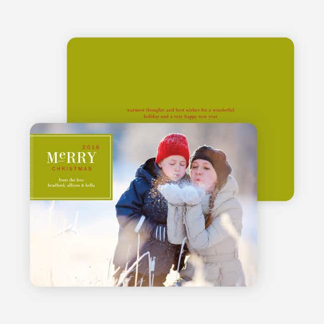 Merry Christmas Badge – Modern Holiday Photo Card - Lime Green