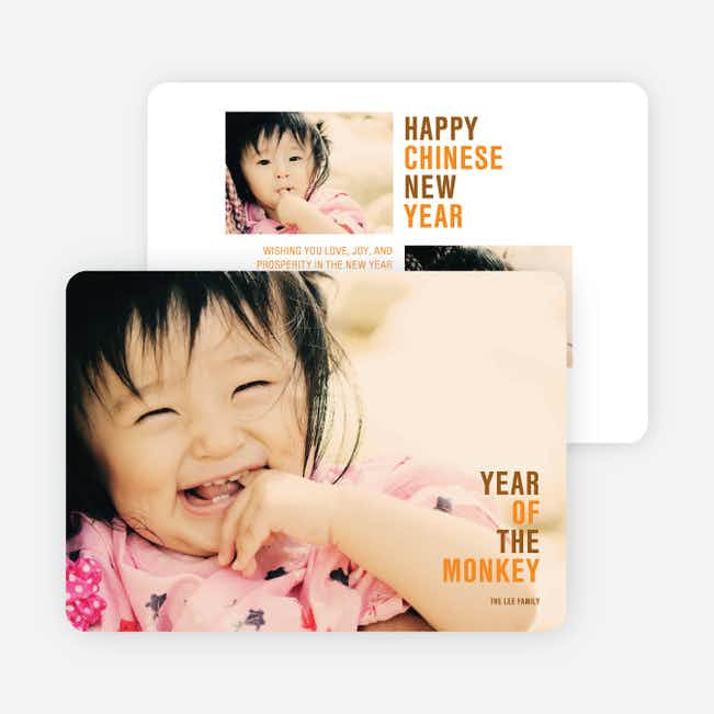 Year of the Monkey Lunar New Year Cards - Orange
