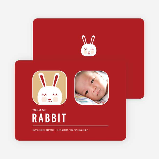 Blushing Rabbit Chinese New Year Cards - Garnet