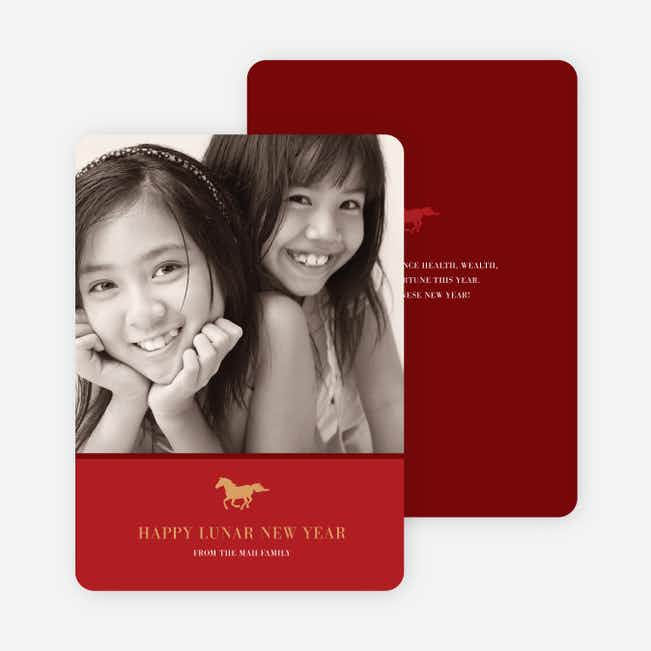 Happy Year of the Horse Photo Card - Crimson