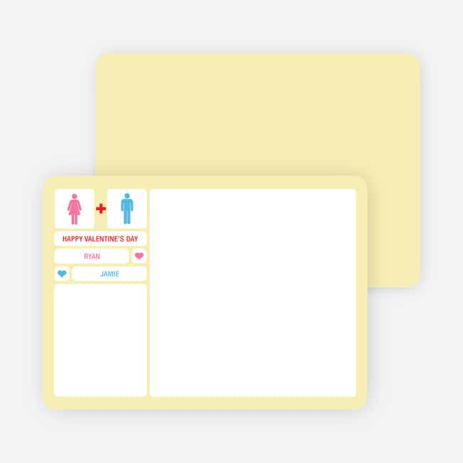 His + Her Valentine's Day Note Cards - Pyramid Yellow