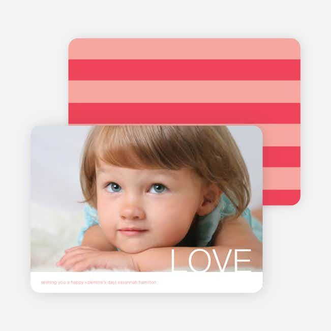 Simple Love Valentine's Day Cards - Coral