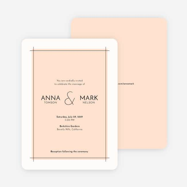 Simple Lines Wedding Invitations - Pink